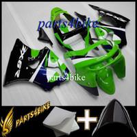 ingrosso zx6r 1998 99-Carena ABS per Kawasaki ZX6R 98 99 1998-1999 ZX-6R 1998 1999 98-99 verde nero Aftermarket Plastic