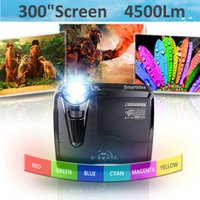 Wholesale Dlp Shutter 3d - Wholesale-4500lumens Portable XGA DLP Active Shutter 3D Home Cinema HDMI Holographic Film Advertising Projector Education Proyector Beamer