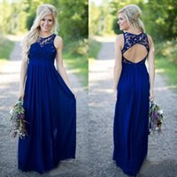 Wholesale Back Out Wedding Dresses - 2016 Country Style Royal Blue Lace And Chiffon A-line Bridesmaid Dresses Long Cheap Jewek Cut Out Back Floor Length Wedding Dress
