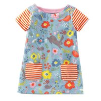Wholesale dress patterns for children - Animals Appliqued Summer Dress for Girl Patterns Printed Dresses Cute Princess Party Dress Wholesale Children Clothing