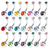 Wholesale Titanium Belly Jewelry - New 316L Surgical Steel navel rings Crystal Rhinestone Belly Button Navel Bar Ring Body Jewelry Piercing 100PCS LOT Free Shipping C058