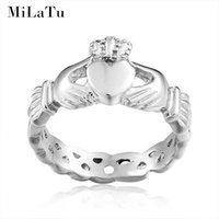 Wholesale Claddagh Bands - MiLaTu Irish Claddagh Rings For Women Hand Love Heart Crown Wedding Ring Best Friends Rings US Size 5 to 10 R186G