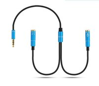 Wholesale Extension Usb Splitter Cable - Audio 3.5mm Jack Microphone Splitter cable 1 Male to 2 Female jack Extension Aux Cable Adapter 1 Female to 2 Male