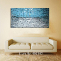 Wholesale Large Modern Paintings - Modern Hand abstract Large Wall Decor Oil Painting On Art Canvas Home Decoration Blue Style (No Framed)