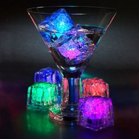 Wholesale Multi Candle - Water Submersible Flashing LED Ice Cube Sensor Flashing Multi-Color Light Color Luminous In Water Night Light Party Wedding Decor 12pcs lot