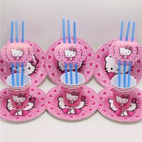 Wholesale Happy Birthday Straw - Wholesale-30pcs\lot happy birthday party supplies decoration plate baby shower cup hello kitty straws kids favors disposable paper dish