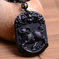 maskottchen perlen groihandel-Natural Black Obsidian Pendant Carved Chinese Mascot Zodiac Cattle Pendant Bead Necklace Lucky Amulet Men Women's Jade Jewelry