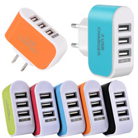 Wholesale colorful adaptor online - 100pcs Colorful Usb ports Eu US Ac home wall charger travel adapter adaptor for android phone gps mp3 for iphone samsung s6 s7 edge