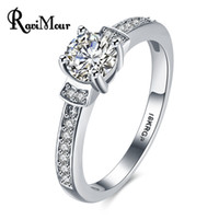 Wholesale Bague Color - Fashion New Wedding Rings for Women Big Cubic Zircon White Gold Color Anillos Mujer Jewelry Copper Engagement Ring Bague Femme Gift