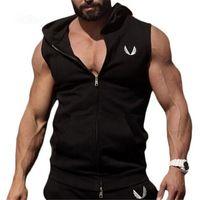 Wholesale Hooded Singlets - Wholesale- Mens GymShark Muscle Hoodie Hooded Vest Singlets Tank Tops Stringer Bodybuilding Fitness Sleeveless Zipper Tees Vest