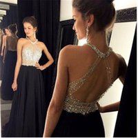 Wholesale Cross Through Beads - Long Formal See Through Black Chiffon A Line Prom Dresses Modern Silver Beads Crystal Party Gowns Custom Made Shiny Hollow Criss-Cross