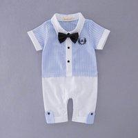 Wholesale Gentleman Tie Romper Infant - Retail New Boy Gentleman Romper Baby Bow Tie Plaid Light Blue Cotton Short Sleeve One-pieces Jumpsuits Infant Clothes 13206