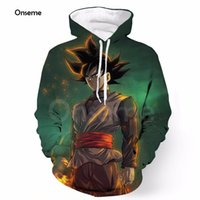 Wholesale Galaxy Mens Sweatshirts - Wholesale- Onseme Mens Pocket Hooded Sweatshirts Cool Black Goku Prints Hoodie Galaxy Dragon Ball Z Hoodies Pullovers Male Anime Outfits