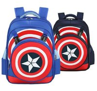 Wholesale Cute Shoulder Bags For Kids - Cute New Design Captain America Children schoolbag School Backpack Shoulders Bag For Boys Kids Waterproof Free Shipping