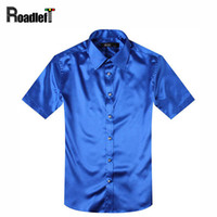Wholesale Mens Poplin Shirts - Wholesale- Male summer short sleeve shirts mens silk slim fit shirt Men dress social shirt tuxedo shirt hemden black red white