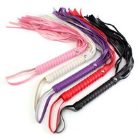 Wholesale Wholesale Sex Games - 45cm Length PU Leather Flogger Whip Sex Spanking Paddle Handle Toys For Couple Erotic Adult Game Products Sexy Whip Flirting Toy