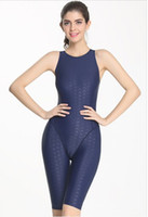 Wholesale Sexy Race Girls - Professional One Piece Women Swimsuit Sports Racing Competition Sexy Tight Bodybuilding Bathing Suit Girl Knee Length Swim Wear 6008