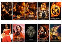 Wholesale Hunger Games Movie Poster - Wholesale- 10 pcs set The Hunger Games Series Movie Poster Souvenir Card Sticker DIY Decoration Anti-Dust Bus ID Card Stickers 1107