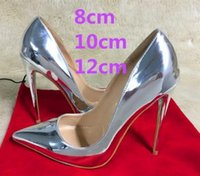 Wholesale Fine Bottom - 2017 New Brand 12cm Ultra-fine Pointed Toe Red Bottom Silver High-heeled Shoes Patent Leather Shallow Mouth Bridal Dress Wedding Shoes Women
