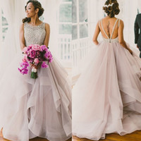 Wholesale Cheap Classy Wedding - Classy Blush Tulle Ball Gown Wedding Dresses 2017 Beaded Lace Backless Tiered Ruffles Bridal Gowns Cheap Plus Size Bride Dress