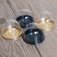 mini queques de plástico venda por atacado-Moda 100 pcs = 50 conjuntos Mini Tamanho Plástico Cupcake Bolo Cúpula Favor Boxes Container Bolo Caixa De Casamento Favorece Caixas Suprimentos