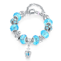 Wholesale Toggle For Glasses - Women Charm Bracelet European Hot Fashion Style Blue Glass Beaded Silver Plated Diy Charm Bracelets for Women Teen Girls Excellent quality