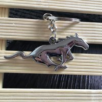 Wholesale Car Key Chain 3d - Car Styling 3D for Ford Mustang Logo Metal Keychain personality Logo Pendant car Mustang logo emblem key chain 4S shop sales promotion gift