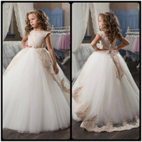 Wholesale Girl S Birthday Dress - Stunning Sleeveless Holy Communion Dresses Cream Kids Floor Length Ruffles Lace Satin Tulle Ball Gowns Girls Birthday Dress
