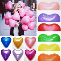 Wholesale Inflatable Latex Toy - Romantic 12 Inches 2.2g Red Love Heart Latex Wedding Helium Balloons Valentines Day Birthday Party Inflatable Balloons