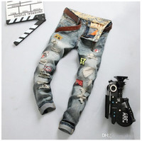 Neue Robin Herren Designer Hole in Jeans Long Flag Badge Slim Skinny Denim Herren Pant Hosen Jeans
