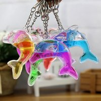 Star order insects - Dolphins floating bag pendant oil leak cartoon small gift creative key ring key ring aquarium gift KR349 Keychains mix order pieces a