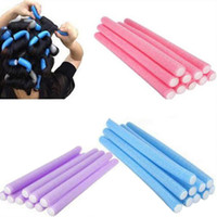 Wholesale Wholesale Hairstyles Tool - Hairstyle Foam Curler Roller Free Shipping 10 Pieces Stick Spiral Curls Tool Hair Rollers Bendy Hair Styling Sponge 1.4 cm Width