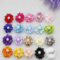 Wholesale Duck Bill Clips - Children's cute hair accessories hairpin hairpin card DIY multi-angle flower plus pearl flower drill duck bill 20 color