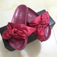 Wholesale butterfly bowtie - 2017 Wholesal Fenty Rihanna Shoes Summer Slippers Women Butterfly Bowtie Indoor Sandals High Quality Non-Slip Slide With Box Size 36-41