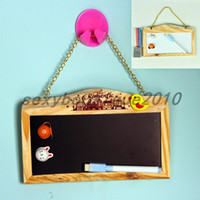 Unisex black message boards - Magnetic Wood Chain Hanging Black Board Blackboard Message Two Side Chalkboard