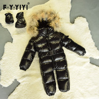Wholesale Newborn Baby Winter Jacket - Winter baby snowsuit newborn warm duck down jackets 100% Real Raccoon fur hooded jumpsuit infant baby Bodysuits More colors