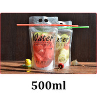 Wholesale resealable food pouches - 400ml 450ml 500ml frosted clear food grade packaging resealable zipper stand up plastic disposable drinking water pouch bag