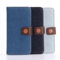 Wholesale Denim Phone Cases - Premium Denim Leather phone case for iphone7(4.7inch) and iphone7(5.5inch) plus PU Leather shell with card slot