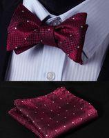 Wholesale Dot Burgundy Groom Wear Plaid Groom Ties With Free Kerchief Different Color Men Suit Decoration