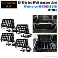 4IN1 Pacote Flightcase 15 * 15W LED Wall Wash Lamp 225W Lavadora Flood Light Reflector Copa Outdoor Paisagem Iluminação Liso RGB 3IN1