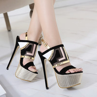 Wholesale Women Office Cloth - Glitter Patchwork Platform High Heels Black Metal Meshy Cloth Open Toe Ankle Strap Shoes Size 34 to 40
