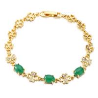 "Wholesale Unique Green Bracelet - Gemstone Yellow Gold Women Bracelet Dazzling Green Opal Unique Handmade Beautiful Wedding Gifts Links 7.5""inch BSL1000103"