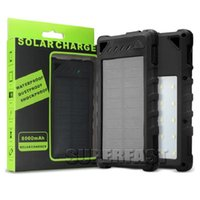 Wholesale Dual Port Universal Power Bank - Portable 8000 mAh Solar Power Bank Dual USB Port Solar Chargers Built-in LED Light Solar Panels For Universal Phone iPad with Retail Package