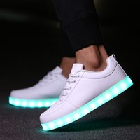 Wholesale Usb Slippers - 2017 Fashion Usb Glowing Shoes Luminous Sneakers for Kids Boys LED Shoes with Light Up sole Krasovki Tenis Feminino LED Slippers 30