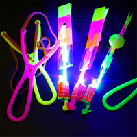 Wholesale fun shoots - LED Amazing Light Flash Flying Rotating Arrow Shoot Up Rocket Helicopter umbrella Flying Toy Party Fun Gift Novelty Children Toys