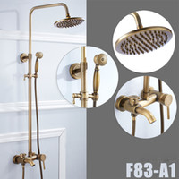Wholesale Antique Rainfall Shower - Bathroom Antique Brass Shower Faucet Rainfall Shower Head With Hand Shower Tub Spout Mixer Taps