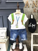 Wholesale Printed T Shirt Bags Wholesale - 2017 New Summer baby clothes Boys Clothing suit bag printing T-shirt tops jeans shorts pants 2pcs sets children clothing Kids Outfits A481
