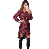 2017 Nuove donne di estate si vestono per il tempo libero Abiti a maniche lunghe vintage Donne Plaid Check stampa Casual Shirt Dress Plus Size