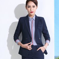 Wholesale Korean Long Blazers For Women - Korean Office Blazers For Women Plus Size New Blue Stripe Long Temperament Formal Blazers Long Sleeve Leisure Women Handsome Suit Jacket