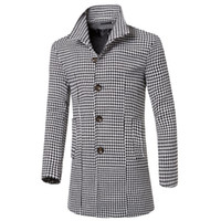 Wholesale Trench Coat Korean Style Wool - Wholesale- Korean Style Fashion 2015 Single-breasted Plaid Men Wool Trench Coat Long Stand Collar Slim Wool Long Men Trench Overcoat M-3XL